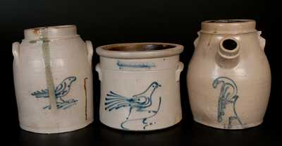 Lot of Three: WHITES UTICA Bird-Decorated Stoneware