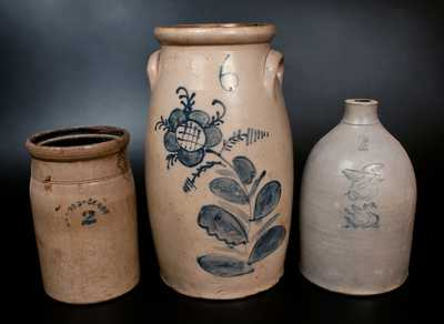 Lot of Three: C. W. BRAUN / BUFFALO, NY Stoneware Churn, Gardiner, ME Jug w/ Impressed Eagle / Swan, 2 Gal. Churn
