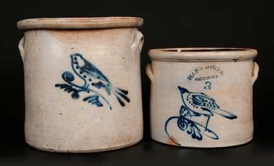 Lot of Two: Stoneware Crocks with Bird Decoration incl. HART BROS. / FULTON, NY Example