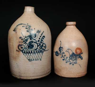 Lot of Two: Northeastern U.S. Stoneware Jugs with Unusual Bird and Floral Decorations