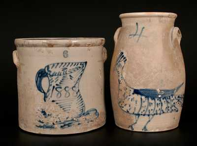 Lot of Two: New York State Goony Bird Churn and Crock with Pitcher Design, Dated 1888