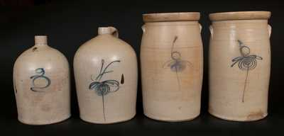 Lot of Four: Midwestern Stoneware Vessels with Large Gallon Capacity Numerals