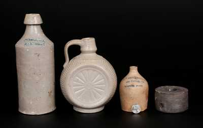 Lot of Four: Stoneware Vessels incl. BOSTON Miniature Advertising Jug, Early Inkwell, Molded Jug, and Bottle