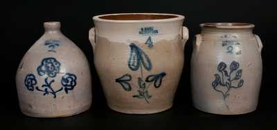 Lot of Three: HART Stoneware Crocks and Jug from SHERBURNE and OGDENSBURGH