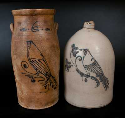 Lot of Two: Stoneware Churn and Jug w/ Large Bird Decoration, both att. Flack & Van Arsdale, Cornwall, Ontario