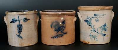 Lot of Three: 2 Gal. Stoneware Crocks incl. Signed S. PURDY and M. WOODRUFF / CORTLAND
