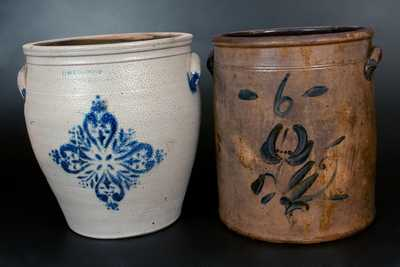 Lot of Two: 6 Gal. Stoneware Crocks incl. F. H. COWDEN / HARRISBURG, PA Example