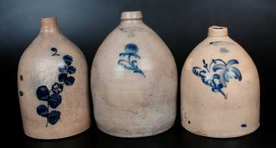 Lot of Three: Decorated Stoneware Jugs, Two A. O. WHITTEMORE / HAVANA, NY