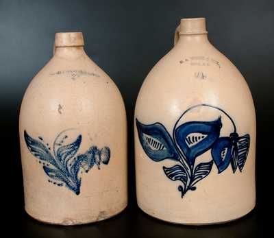 Lot of Two: White (Utica, NY) Stoneware Jugs w/ Similar Floral Decoration