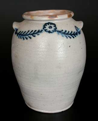4 Gal. Baltimore Stoneware Crock w/ Slip-Trailed Floral Decoration, c1820