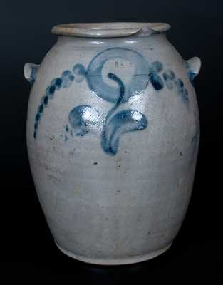 1 1/2 Gal. Att. H. Smith & Co., Alexandria, VA Stoneware Crock with Floral Decoration