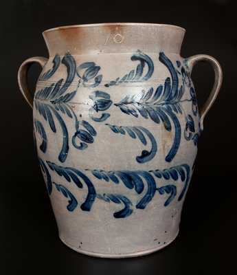 Monumental 10 Gal. Open-Handled Baltimore Stoneware Jar w/ Profuse Cobalt Floral Decoration