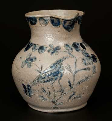 Extremely Important Putnam County, Indiana Stoneware Pitcher with Elaborate Incised Bird, 1844