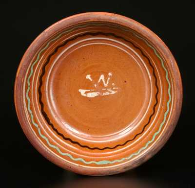 Very Important I. BELL Redware Bowl w/ Three-Color Slip Decoration and Yellow-Slip