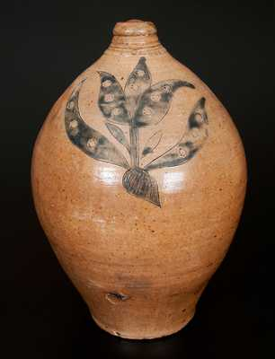 Exceptional Manhattan Stoneware Jug w/ Large Incised Tulip Decoration and Impressed Asterisk Accents, c1810