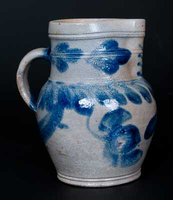 Small-Sized Southeastern PA Stoneware Pitcher with Cobalt Hanging Floral Decoration