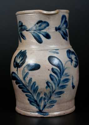 Half-Gallon Remmey (Philadelphia) Stoneware Pitcher with Cobalt Floral Decoration