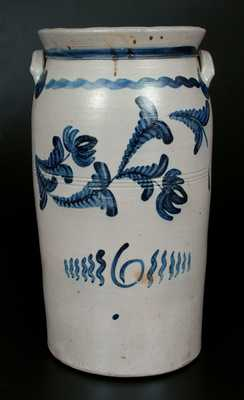 Excellent 6 Gal. Western PA Stoneware Churn with Bold Cobalt Floral Decoration