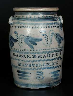 Rare Stoneware Crock Stenciled G.A. & J.E. McCARTHEY / MAYSVILLE, KY w/ Profuse Cobalt Floral Decoration, Greensboro, PA, origin