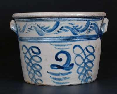 Rare 2 Gal. BOUGHNER / GREENSBORO, PA Stoneware Handled Bowl w/ Profuse Cobalt Decoration