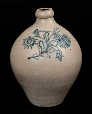 Very Rare G. BRAYTON, Utica, NY Ovoid Stoneware Jug w/ Ornate Incised Floral Decoration