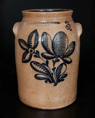 F. STETZENMEYER & CO. / ROCHESTER, NY 3 Gal. Stoneware Crock w/ Elaborate Slip-Trailed Floral Decoration