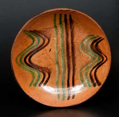 Dryville, PA Redware Plate with Green and Brown Slip Line Decoration