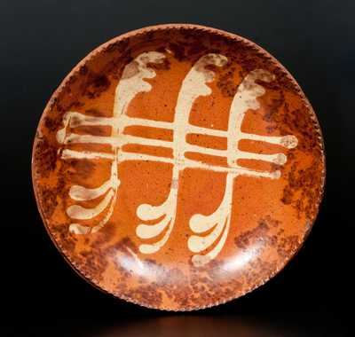 Pennsylvania Redware Plate with Yellow Slip and Brown Sponged Decoration