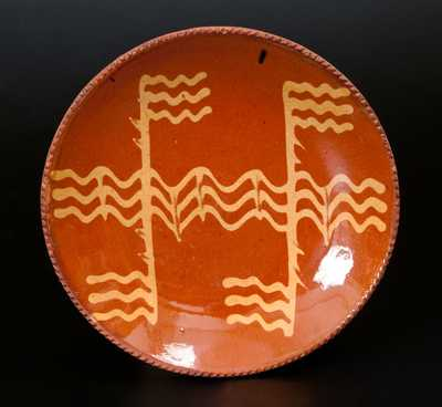 Pennsylvania Redware Plate with Yellow Slip Decoration
