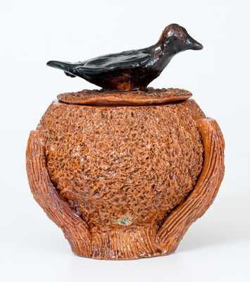 Redware Nest-Form Sugar Bowl with Bird Finial Lid, probably Mid-Atlantic origin