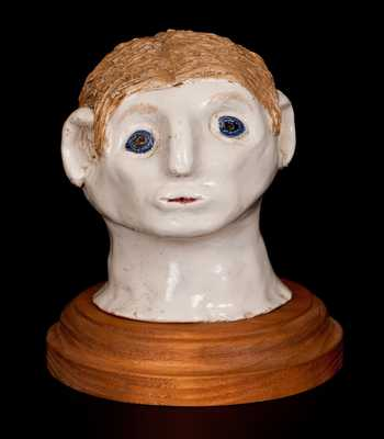 Bristol-Slip-Glazed Stoneware Folk Art Head, Ohio origin, c1900
