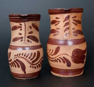 Two Tanware Pitchers, Western PA origin, fourth quarter 19th century