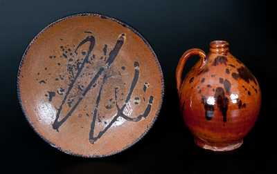 Two Pieces of American Redware, Jug and Plate, 19th century.
