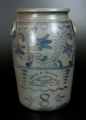8 Gal. Stoneware Crock with Wheeling, WV Advertising and Profuse Cobalt Freehand Decoration att. Greensboro, PA
