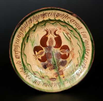 Exceptional Sgraffito Redware Dish w/ PA German Inscription, probably Bucks County, early 19th century