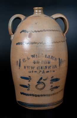Double-Handled C.L. WILLIAMS / & CO. / NEW GENEVA / PA Stoneware Jug, circa 1895