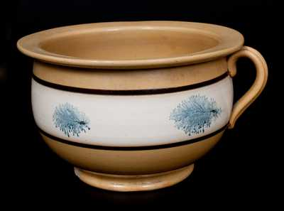 Mocha Yellowware Chamberpot with Cobalt Seaweed Decoration, 19th century