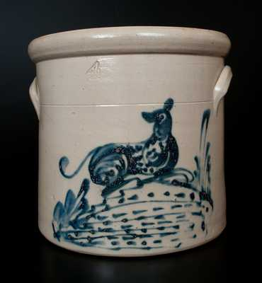 Four-Gallon Stoneware Dog Crock, att. Brady & Ryan, Ellenville, NY