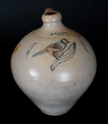 Rare H. & G. NASH. / UTICA Stoneware Jug with Incised Bird