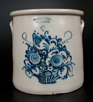 Scarce Six-Gallon J.A. & C.W. UNDERWOOD / FORT EDWARD, N.Y. Stoneware Crock w/ Cobalt Flower Basket