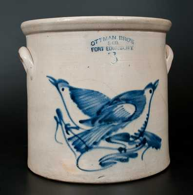 OTTMAN BRO'S. / & CO. / FORT EDWARD, N.Y. Stoneware Crock w/ Cobalt Double Bird Decoration