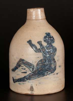 Half-Gallon Stoneware Jug with Detailed Bathing Beauty Decoration