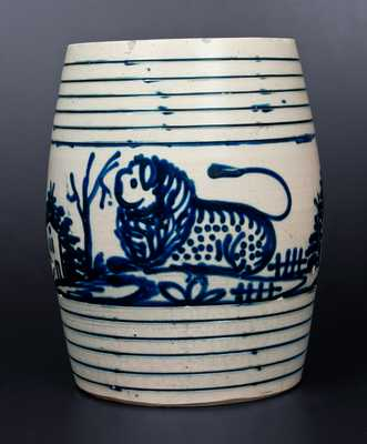 Extremely Rare and Important J. & E. NORTON / BENNINGTON, VT Stoneware Water Cooler w/ Lion, Deer, Houses, Trees and Fences Decoration
