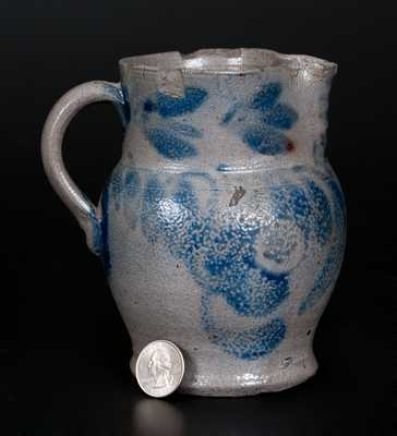 Scarce Small-Sized Stoneware Pitcher w/ Cobalt Floral Decoration, Southeastern PA origin