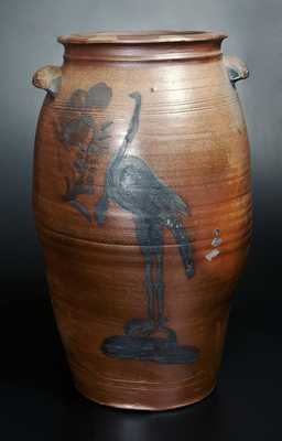 Extremely Rare Morgantown, WV Stoneware Crock w/ Large Turkey and Ornately-Molded Handles