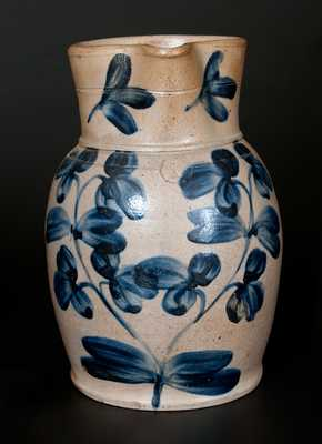 One-Gallon Baltimore, MD Stoneware Pitcher with Cobalt Floral Decoration, circa 1870
