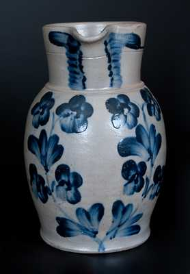 Fine Baltimore Stoneware Pitcher w/ Cobalt Floral Decoration, circa 1845