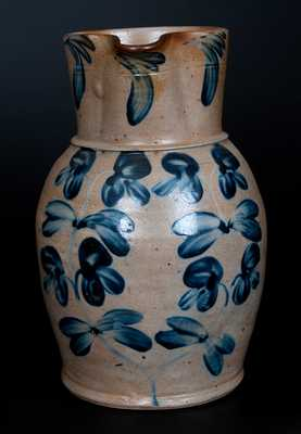 Fine Two-Gallon Stoneware Pitcher w/ Cobalt Clover Decoration, Baltimore, MD, c1850