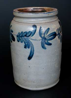 One-Gallon Stoneware Jar with Cobalt Floral Decoration, Remmey, Philadelphia, PA