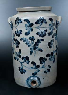 Scarce Henry H. Remmey, Philadelphia, PA Three-Gallon Stoneware Water Cooler w/ Elaborate Cobalt Floral Decoration